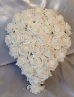 ARTIFICIAL WEDDING FLOWER WHITE BRIDE CRYSTAL WEDDING TEARDROP BOUQUET
